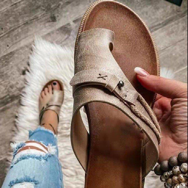 Summer slippers Women Shoes Buckle Sandals Leather Flip Flops Designer Slides