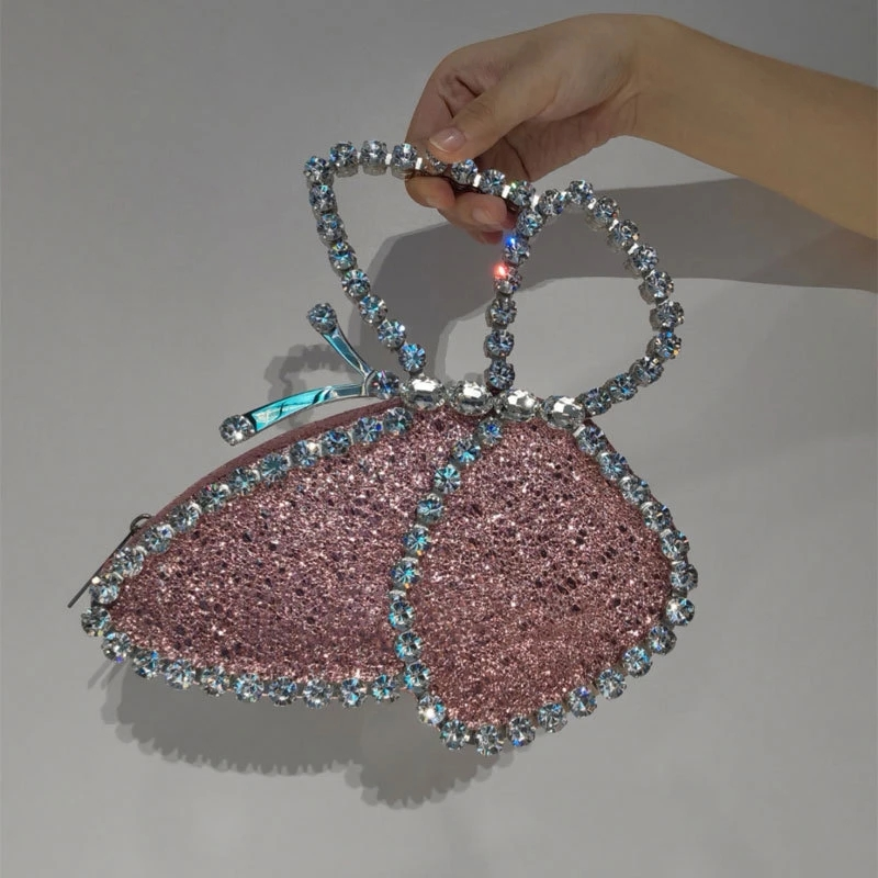 Diamond Butterfly Shaped Evening Bags for Women Crystal Wedding Party Clutch Purse Lady Dinner Sequined Bag
