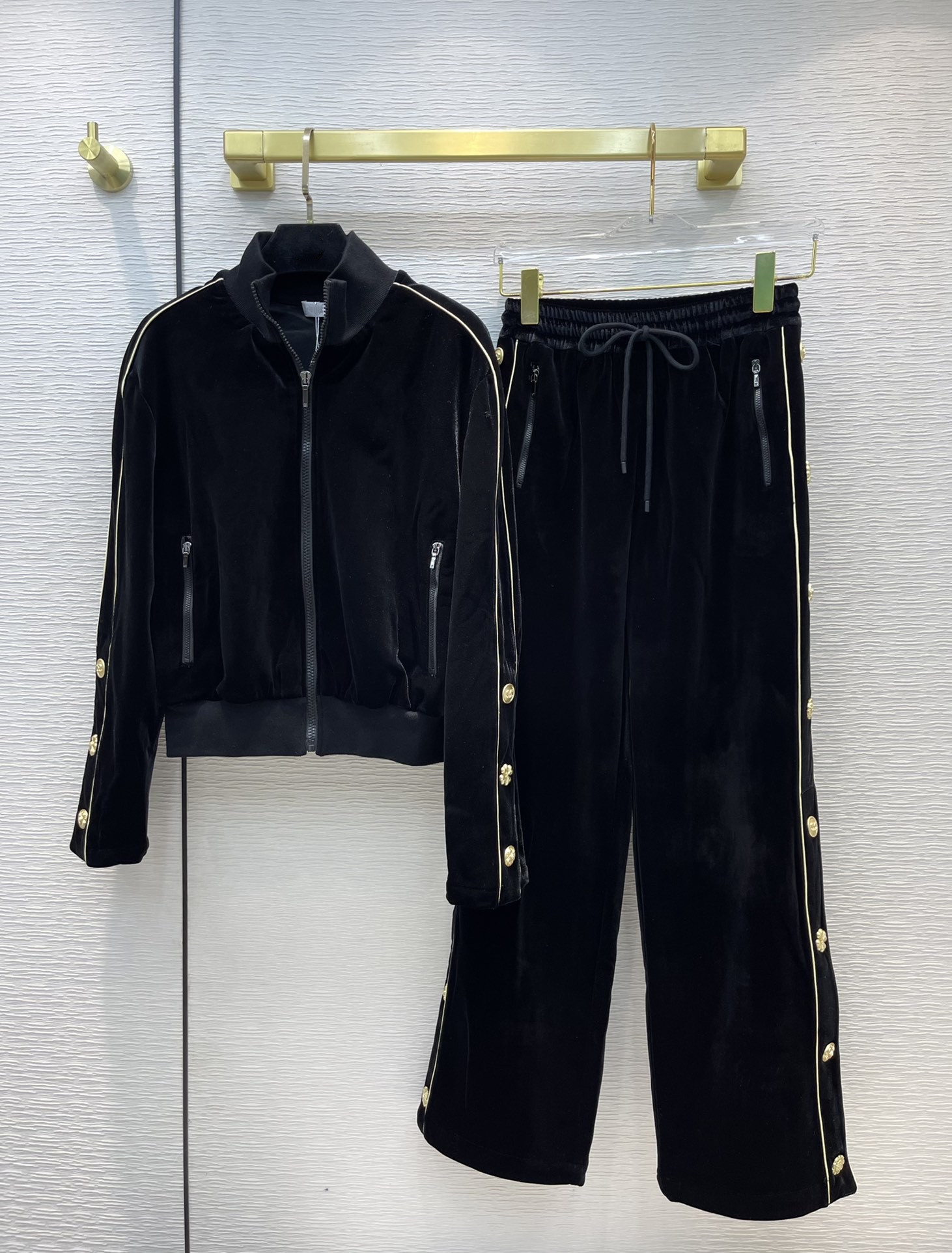 Women's Two Piece Pant 2021 Autumn Winter Fashion Beads Coat And Long pants Brand Same Style 2 Pieces Sets Women's 1007-11