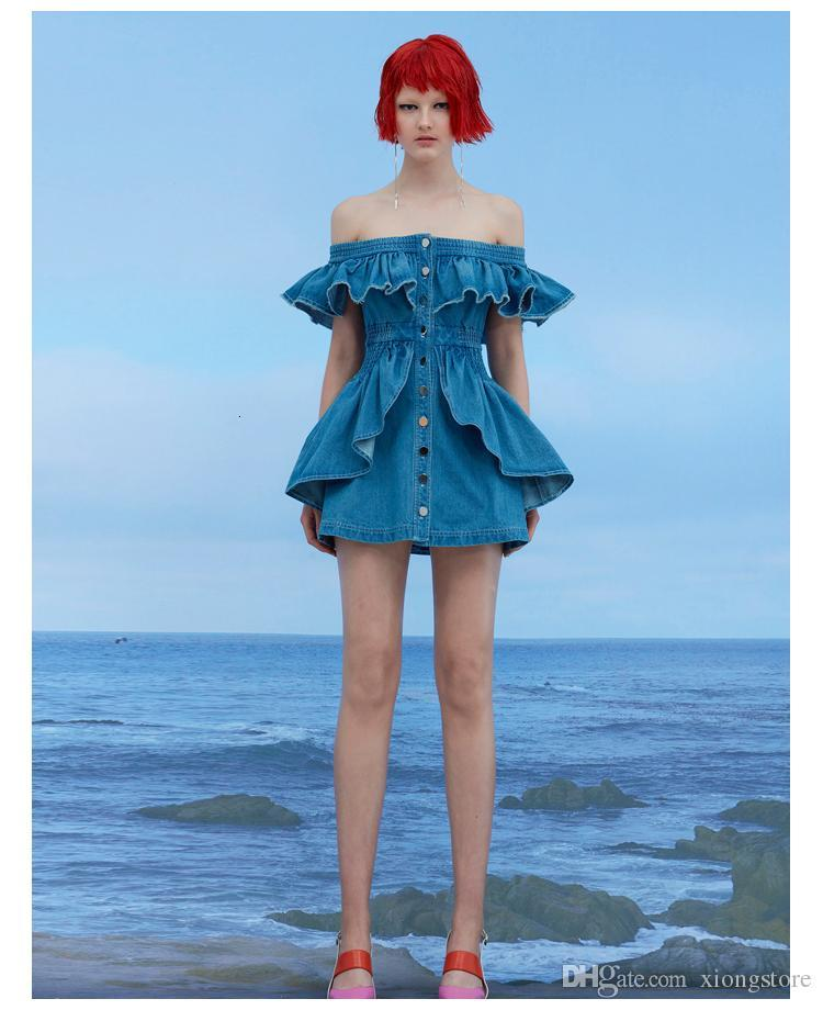 2019 Runway Vintage Women Dresses Blue Jeans Slash Neck Ruffles Mini Dress Casual Summer Off Shoulder Single Breasted Cowboy Denim Dress