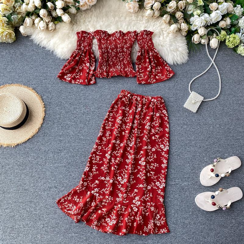 Red Boho 2020 Off Shoulder Summer floral print midi long Dress Party sexy two piece outfits dress Women Casual beach split dresses