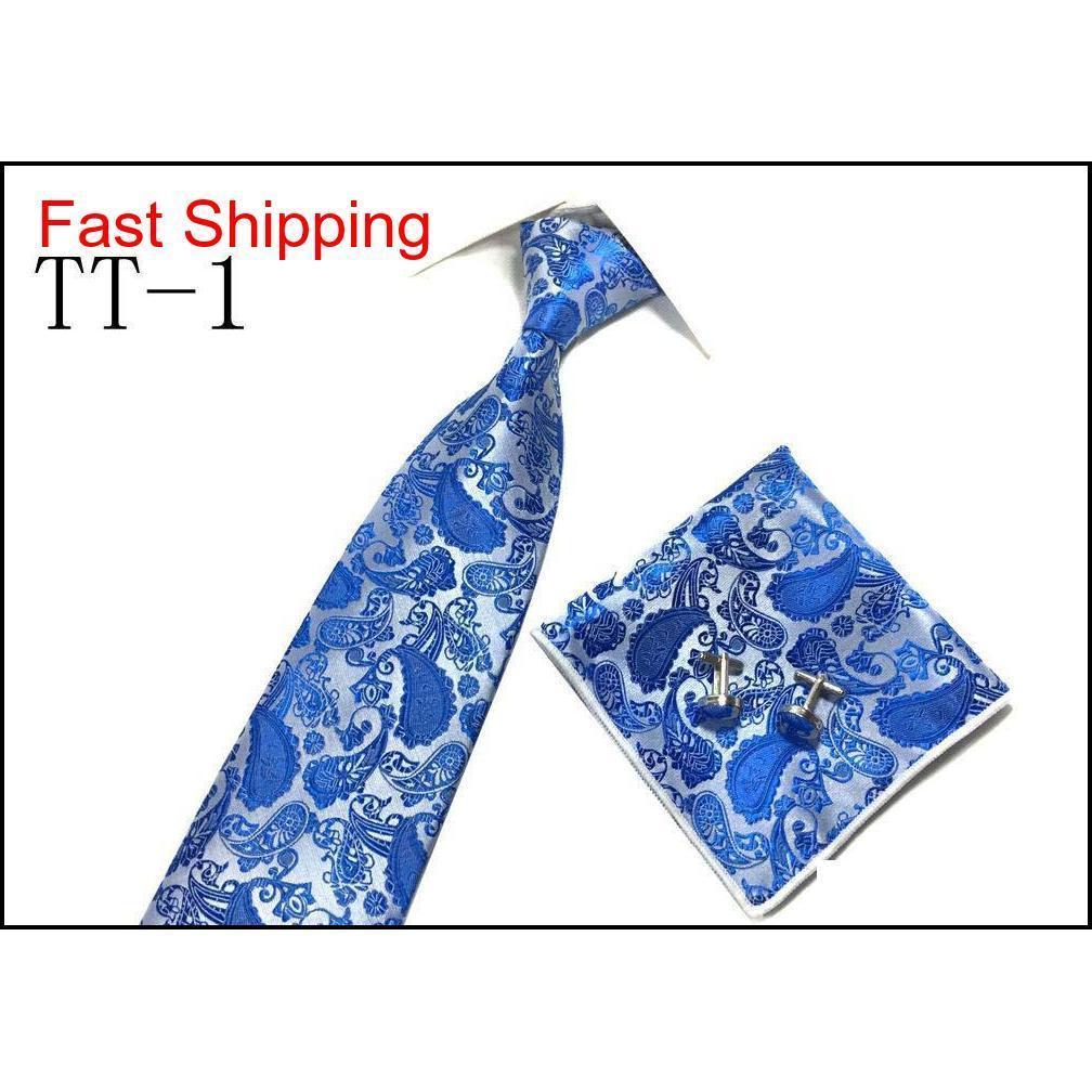 fashion men tie set and handkerchief bowtie cufflinks 9cm necktie 100% silk ties for business wedding party hombre accessories