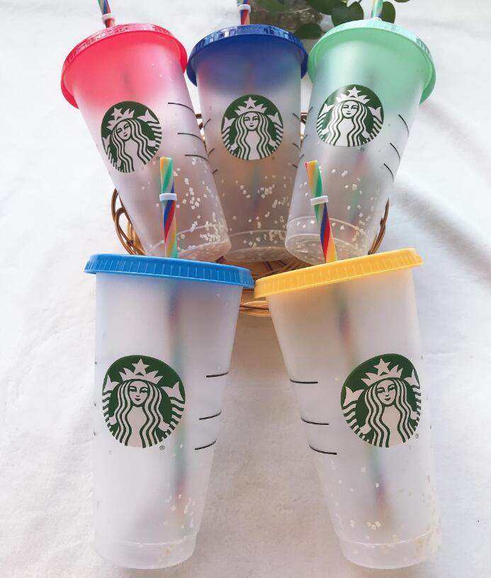 DHL starbucks Mug 16oz, 24OZ Tumblers cups Plastic Drinking Juice With Lip And Straw Magic Coffee Costom mugs Transparent cupDouble Durian Goddess Cup gift