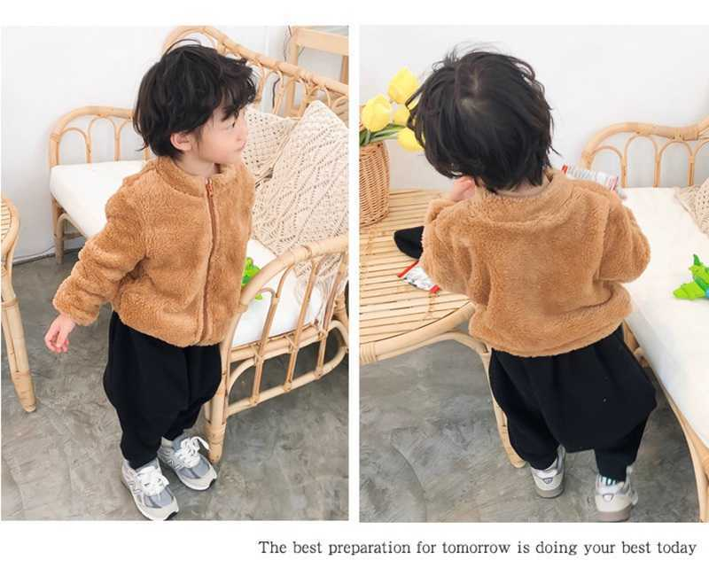 COOTELILI Fashion Fur Velvet Girls Boys Jacket Baby Girls Coat Fleece Warm Kids Jacket Snowsuit Baby Girl Hooded Outerwear (6)