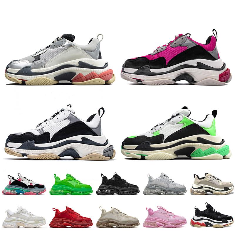 Luxury Designer Triple s Sneakers Womens Mens Casual Shoes Balenciagas Tripler Off Beige Black White Clear Sole 17FW Paris Designers Platform Trainers Van Size 36-45