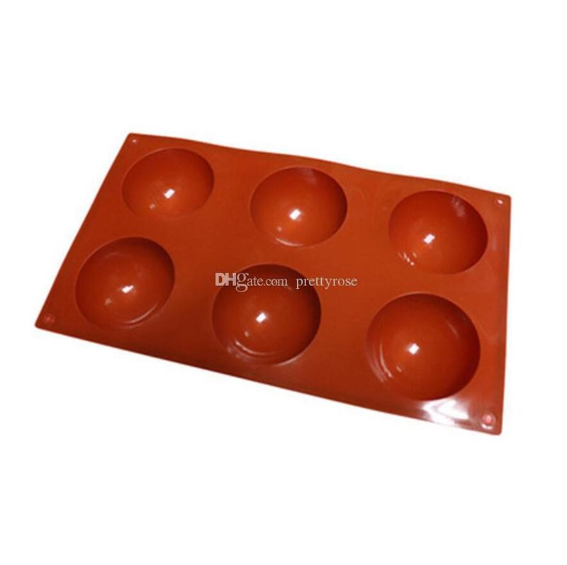 Large 6 Holes Round Shape Cake Mold Half Ball Sphere Silicone Mold For Chocolate Dessert Moulds DIY Decorating Cake Kitchen Accessories