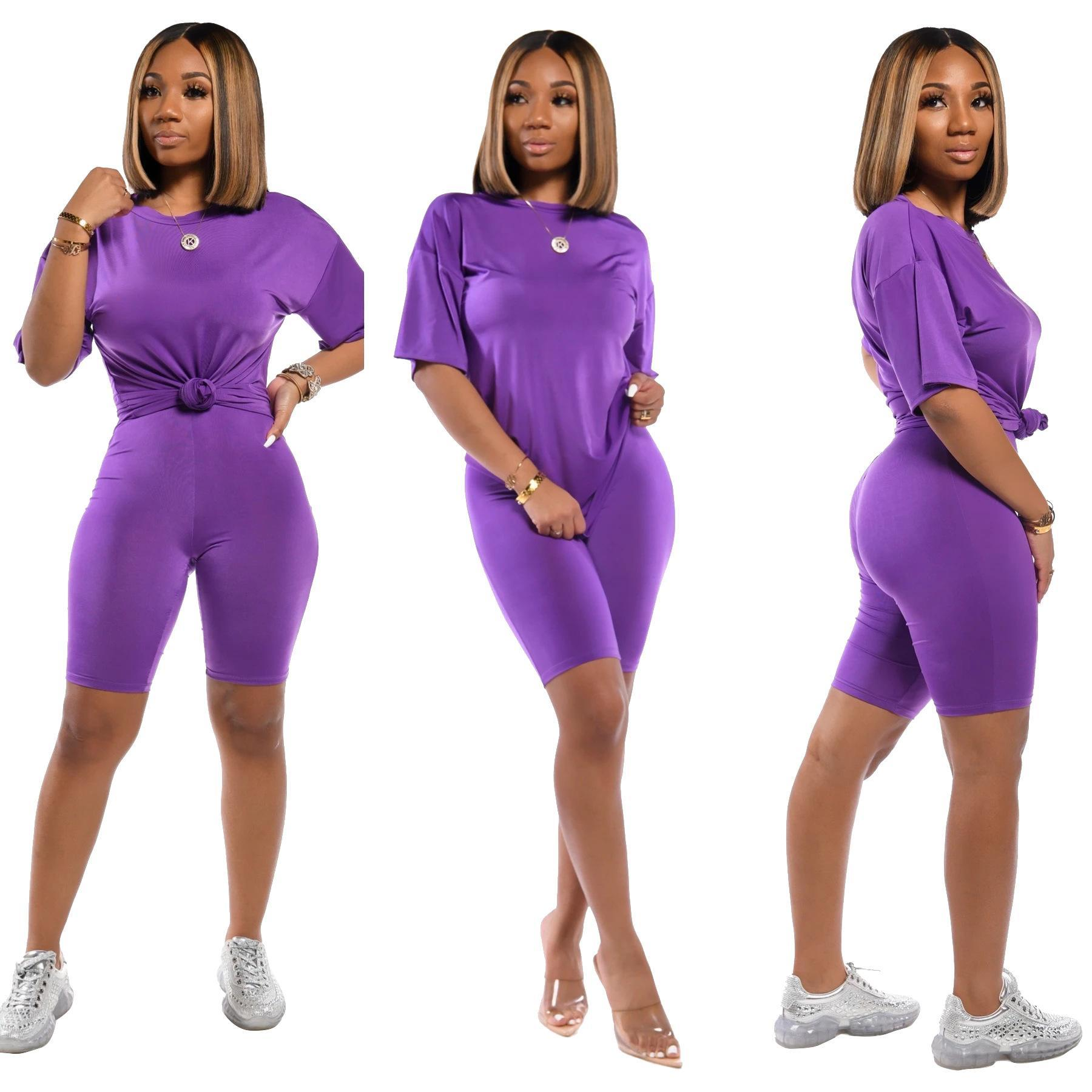 S-3XL Designer womens 2 two piece outfits set solid t-shirt top slim leggings biker shorts pants tracksuits Jogging Clothes plus size