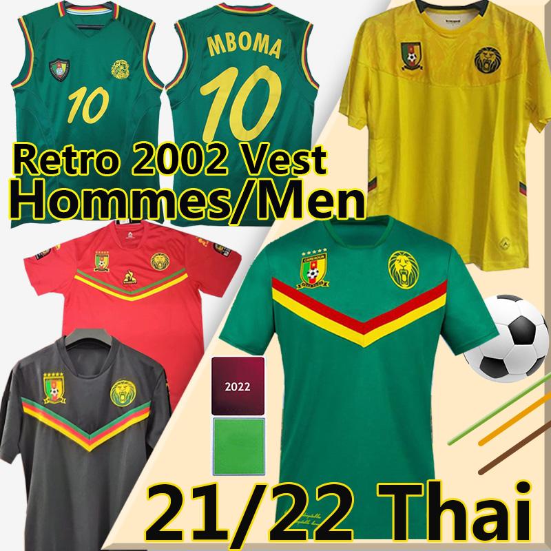 2021 2022 Cameroun soccer jerseys Cameroon Retro 2002 Mboba Vest Choupo-Moting Anguissa Oyongo Njie Aboubakar Ekambi Baaki National Team 21/22 Chemise de football