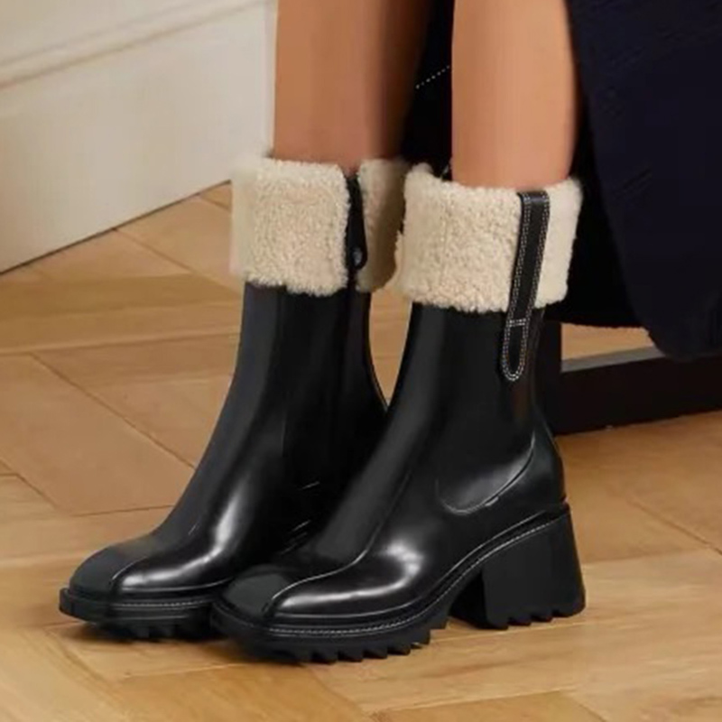 superior quality luxury designers women Half Boots Mixed Color wool Square Toes Rainboots chunky heels platform shoes combat Ankle boot Martin booties womens shoe