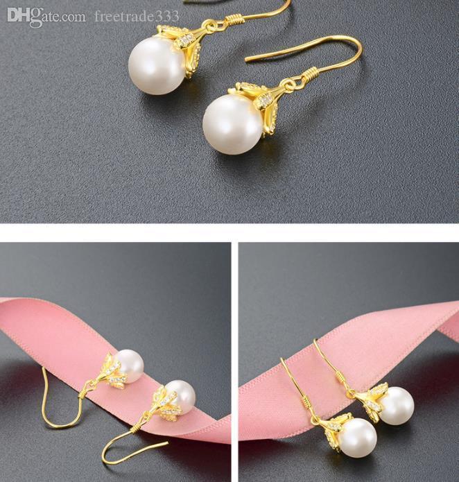 Pearl Stud style earrings S925 silver pearl earrings women's fashion diamond inlaid Pearl Earrings