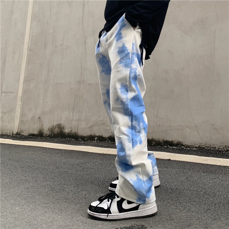 Gradient Tie Dye Overalls Casual Pants Men Loose High Street Oversize Trousers Hip Hop Straight Baggy