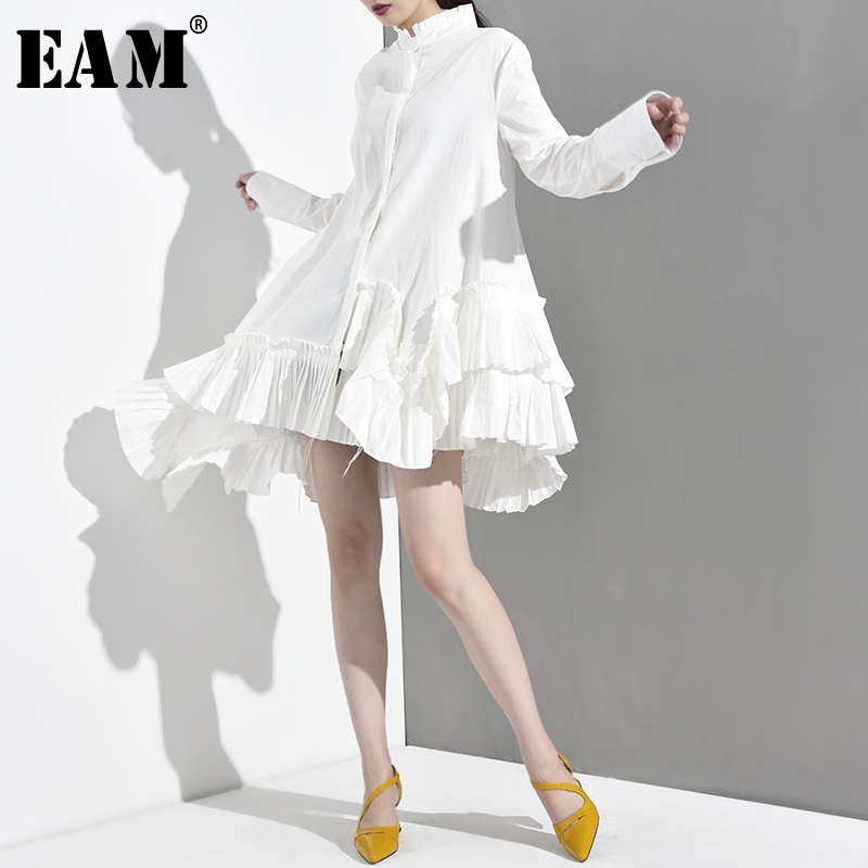 [EAM] New Spring Autumn Stand Collar Long Sleeve White Irregular Hem Ruffles Loose Shirt Women Blouse Fashion Tide 200925