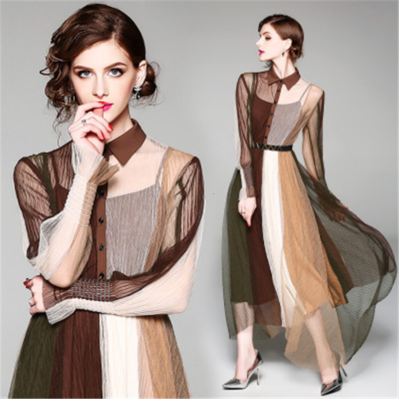 2020 New Women's Wholesale Best Selling Foreign Trade In Europe And America Fashion Lapel Long Sleeve Contrast Fit Long Mesh Dress