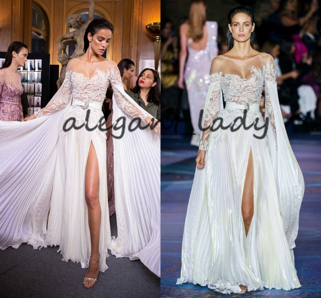 Zuhair Murad 2019 Evening Dresses with Long Cape Sleeves Sheer Jewel Neck Lace Embroidery Slit Flowy Skirt Prom Formal Dress with Belt
