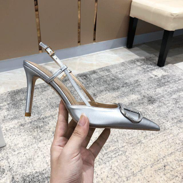 TOP quality Women Sandals Fashion High Heel wedding shoes Summer V buckle Single sexy pointed toeSexy Thin Sandalias