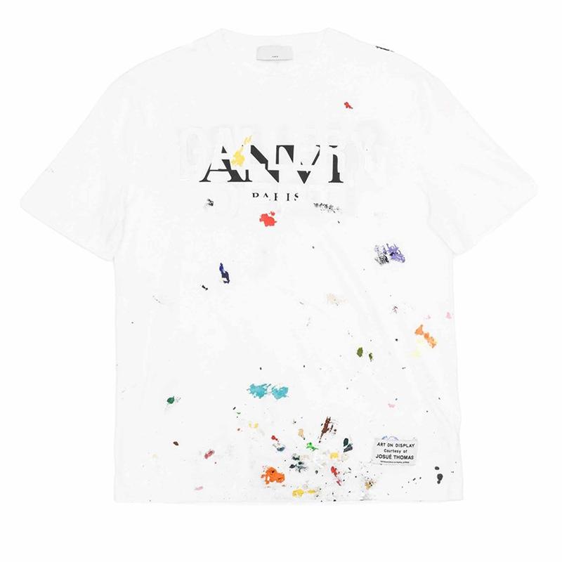 Spring Summer Paris Splash Ink Hand Painted Golden Print Collaborate Tee Skateboard Mens t shirt Women Street Casual Tshirt
