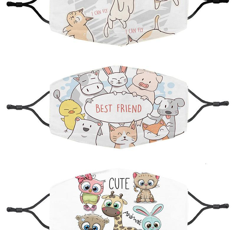 In stock Printing cat cute piggy Mask Outdoor Face Masks Party Spot PM2.5 cotton mouth Face Mask detachable filter Animal mask