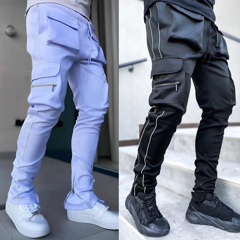 Cargo Pants Men's Skinny Pencil With Multiple Pockets Male Outdoor Jogging Stacked Harem High Street Clothing