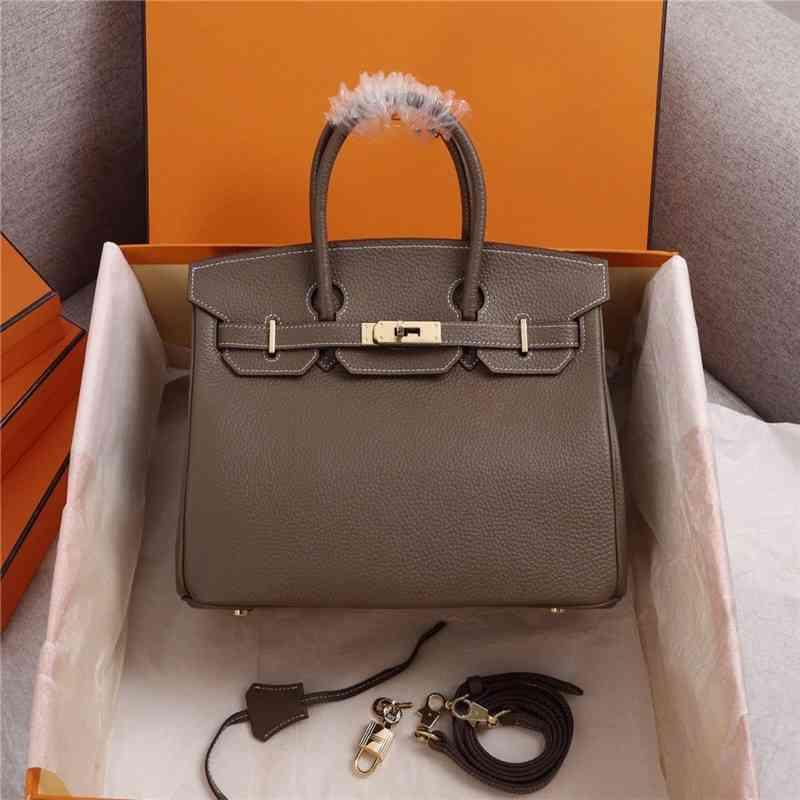 Luxurys Designer Handbags 2021 Ladies Bags Herme Handbag Leather Golden Mouth Birkin Platinum Tote Bag Size 25-35cm bb HY6B