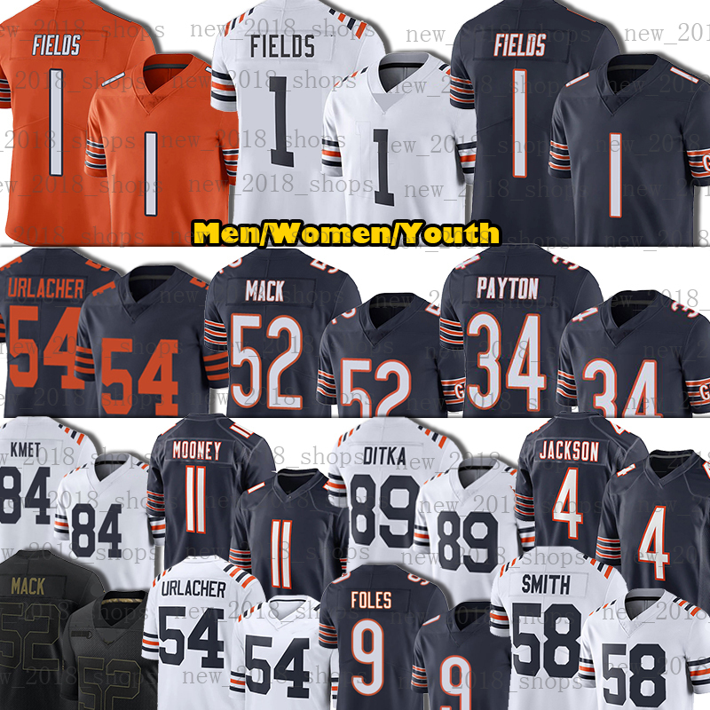 "1 Justin Fields Jersey Walter Payton Khalil Mack Football Brian Urlacher Eddie Jackson Roquan Smith Darnell Mooney Chicago""Bears""David Montgomery Nick Foles"