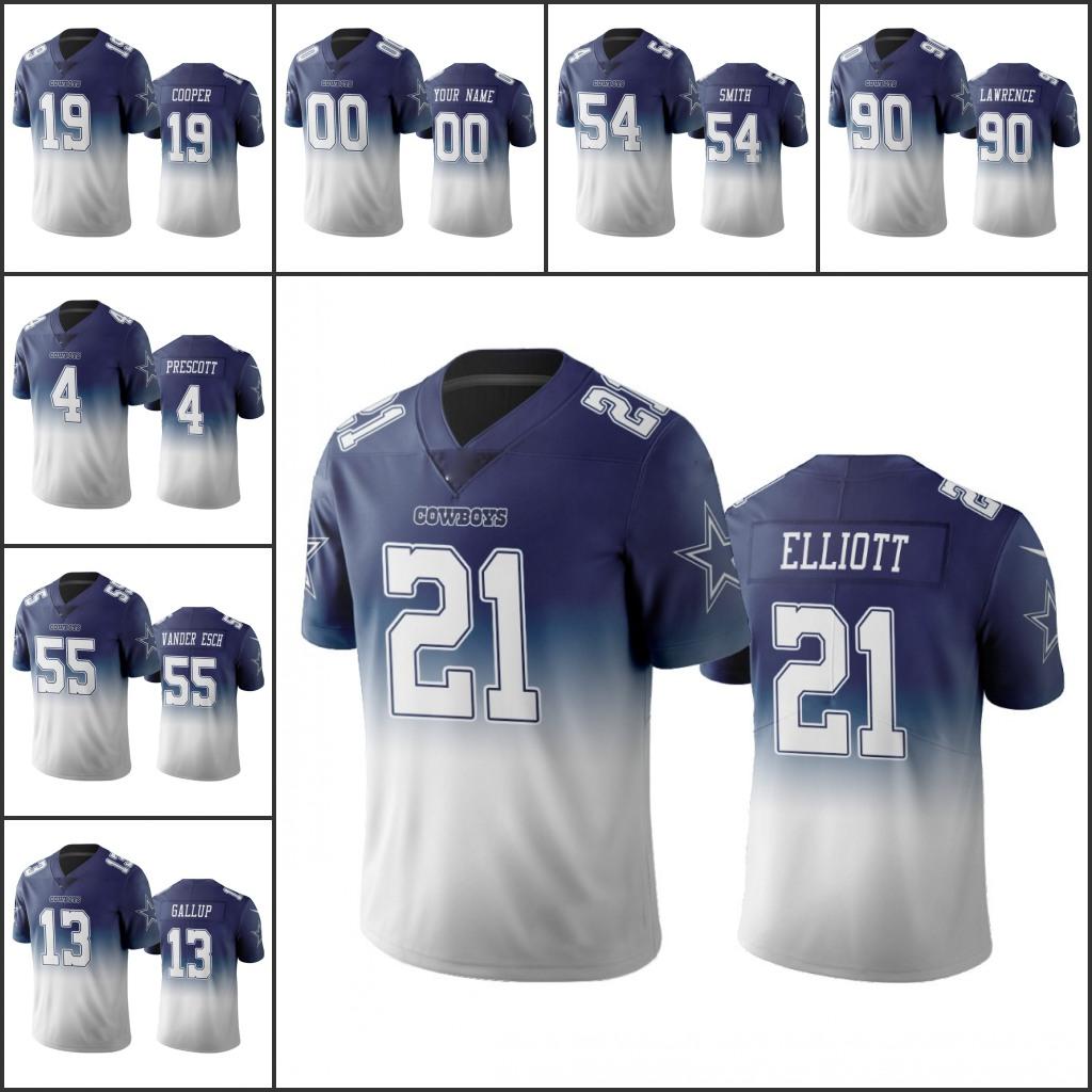 "Dallas""Cowboys""Men Women Youth #21 Ezekiel Elliott 4 Dak Prescott 13 Michael Gallup 19 Amari Cooper Custom Navy Color Crash Vapor Limited Jersey"