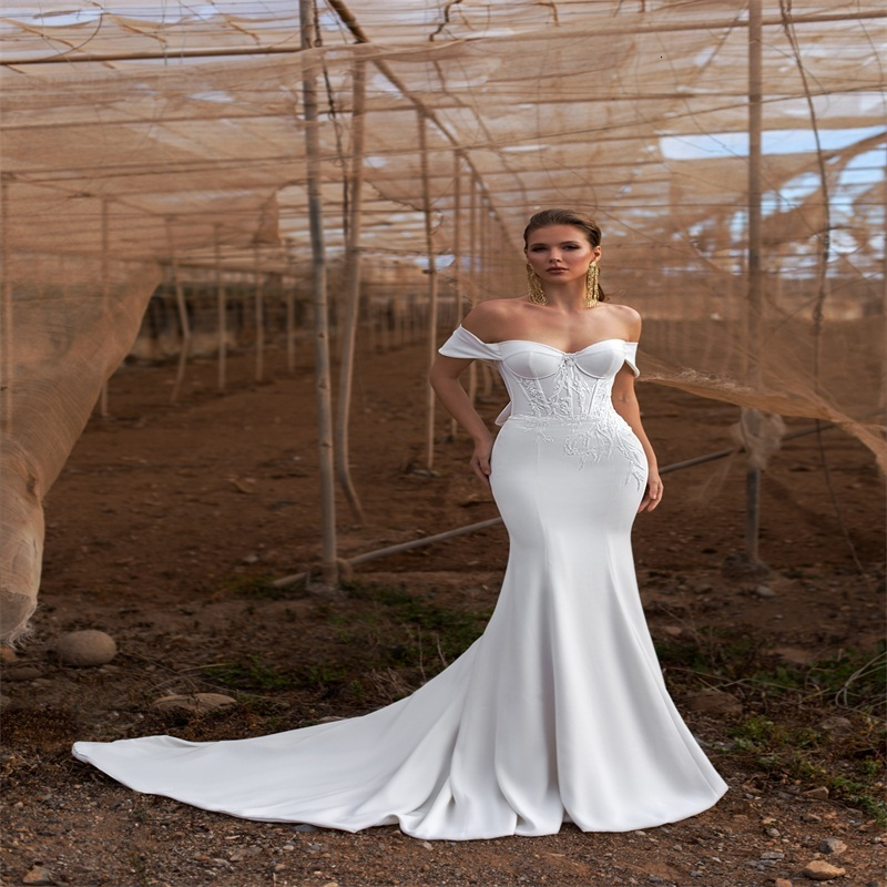 Elegant Satin Boho Mermaid Wedding Dresses Off-shoulder Sleeveless Appliqued Lace Beaded Wedding Gown Sexy Backless Sweep Train Bridal Gown