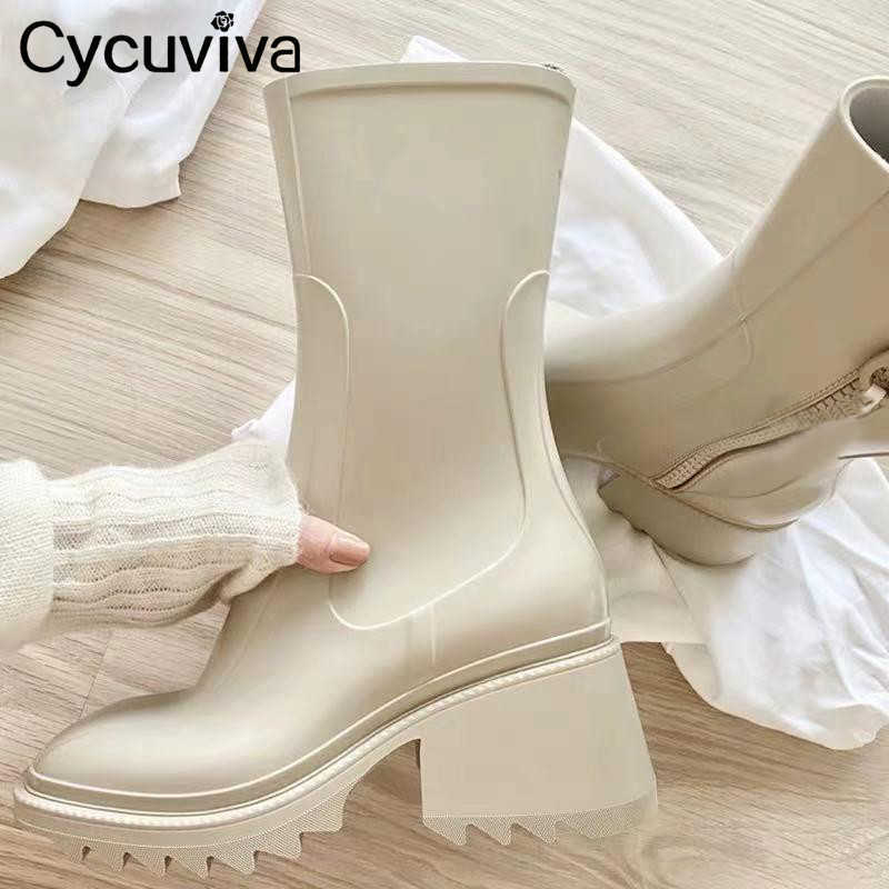 Cycuviva Square toe Rain boots for Women Chunky Heel Thick Sole Ankle Boots Designer Chelsea Boots Ladies Rubber Boot Rain Shoes Y0905