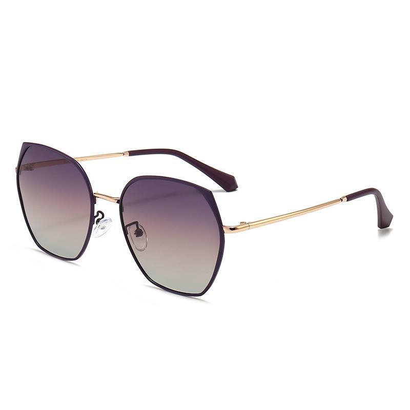 Irregular round sunglasses, polarized avant-garde personality metal rimmed glasses