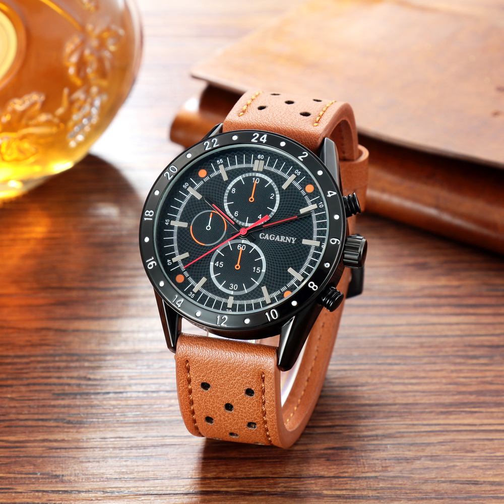 cagarny watches for men quartz wrist watch leather watch strap sports watches casual clock man free shipping (6)