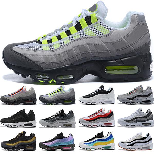 Men Women Running Shoes Triple Black White Laser Purple Aqua Neon Solar Red 95s Mens Womens Trainers Outdoor Sports Sneakers Online Sale
