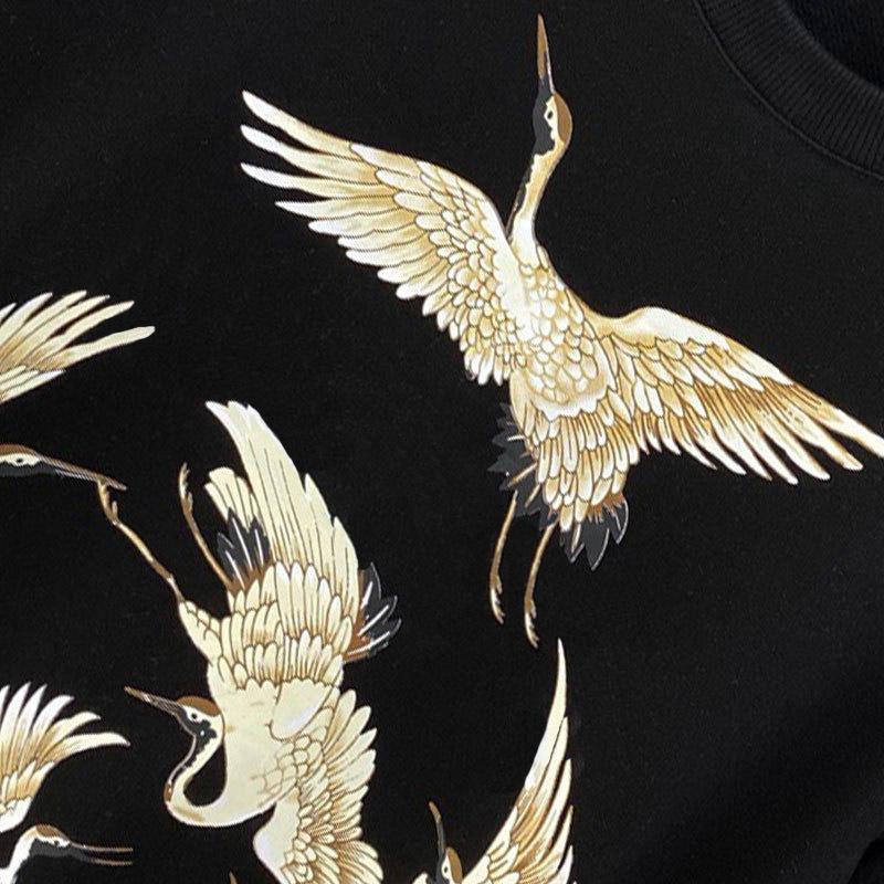 20SS Mens Crane Print Crewneck Sweatshirt Street High Quality Men Women Pullover Hoodies Autumn Winter Warm Outwear Size S-XL