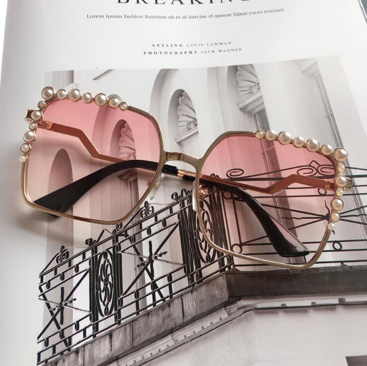 Oversized Square Sunglasses Ladies 2021 New Luxury Pearl Sun Glasses Women Brand Designer Fashion Shades Big Square