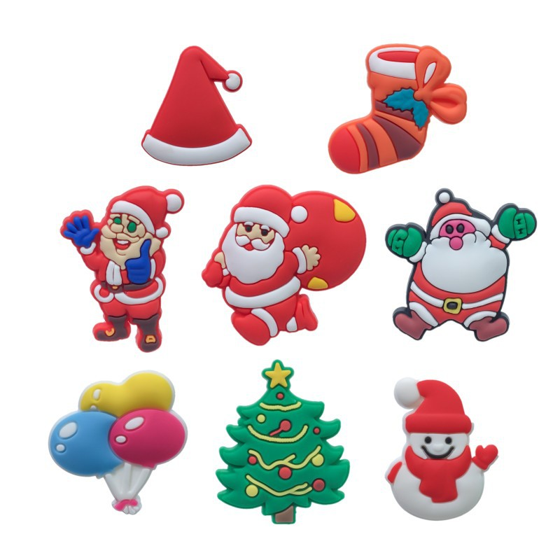 moq100pcs wholesale shoes charms merry xmas gift pvc soft rubber clog shoes charms accessories