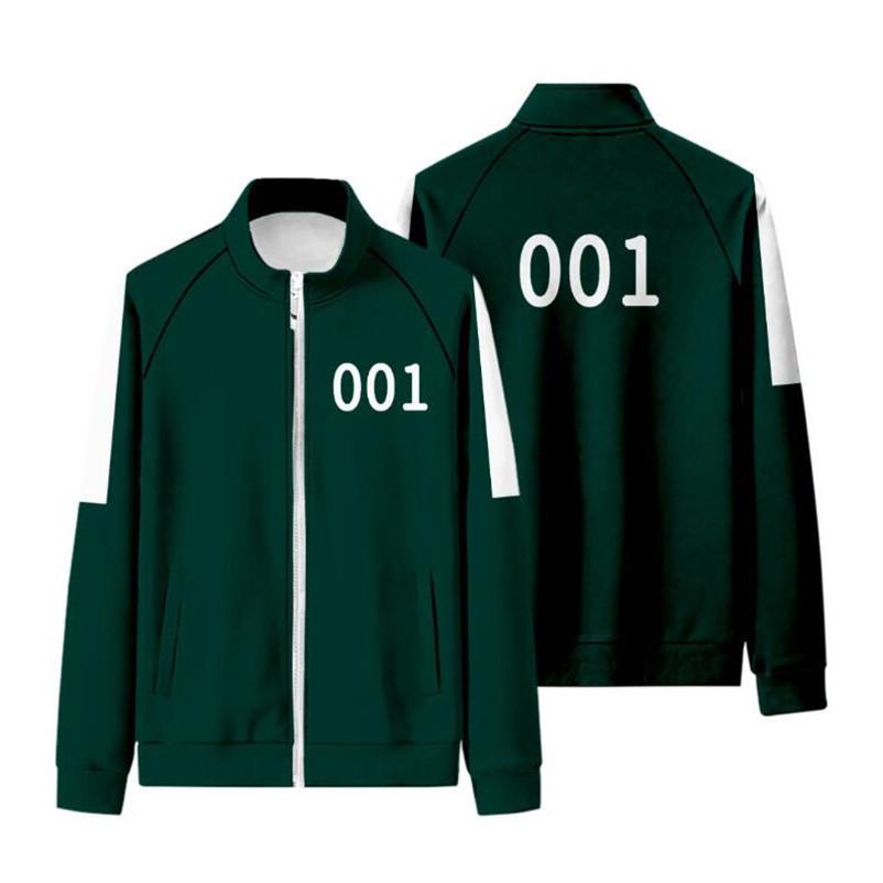 Squid Game Jacket Pants Mens Tracksuits Men Women Costumes Cosplay Sports Zipper Cardigan Digital 456 Pattern Pocket Sweatshirt Set 2XS-4XL H1013