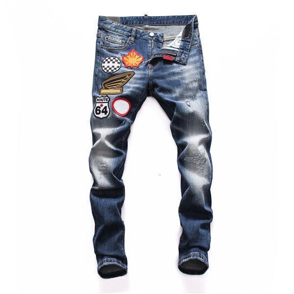 2021 Top Quality Mens Distressed Ripped Biker Jeans Slim Fit Motorcycle Biker Denim For Men Fashion Hip Hop printing Brand Denim Jeans