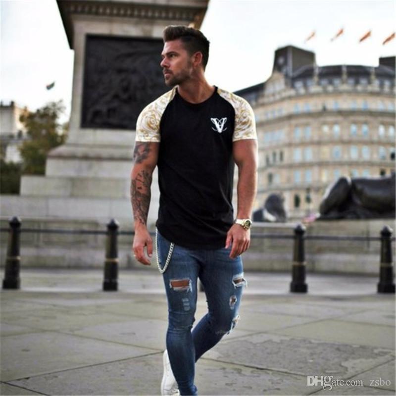 spring and summer short-sleeved round neck print striped loose T-shirt tattoo print T-shirt men WGTX60