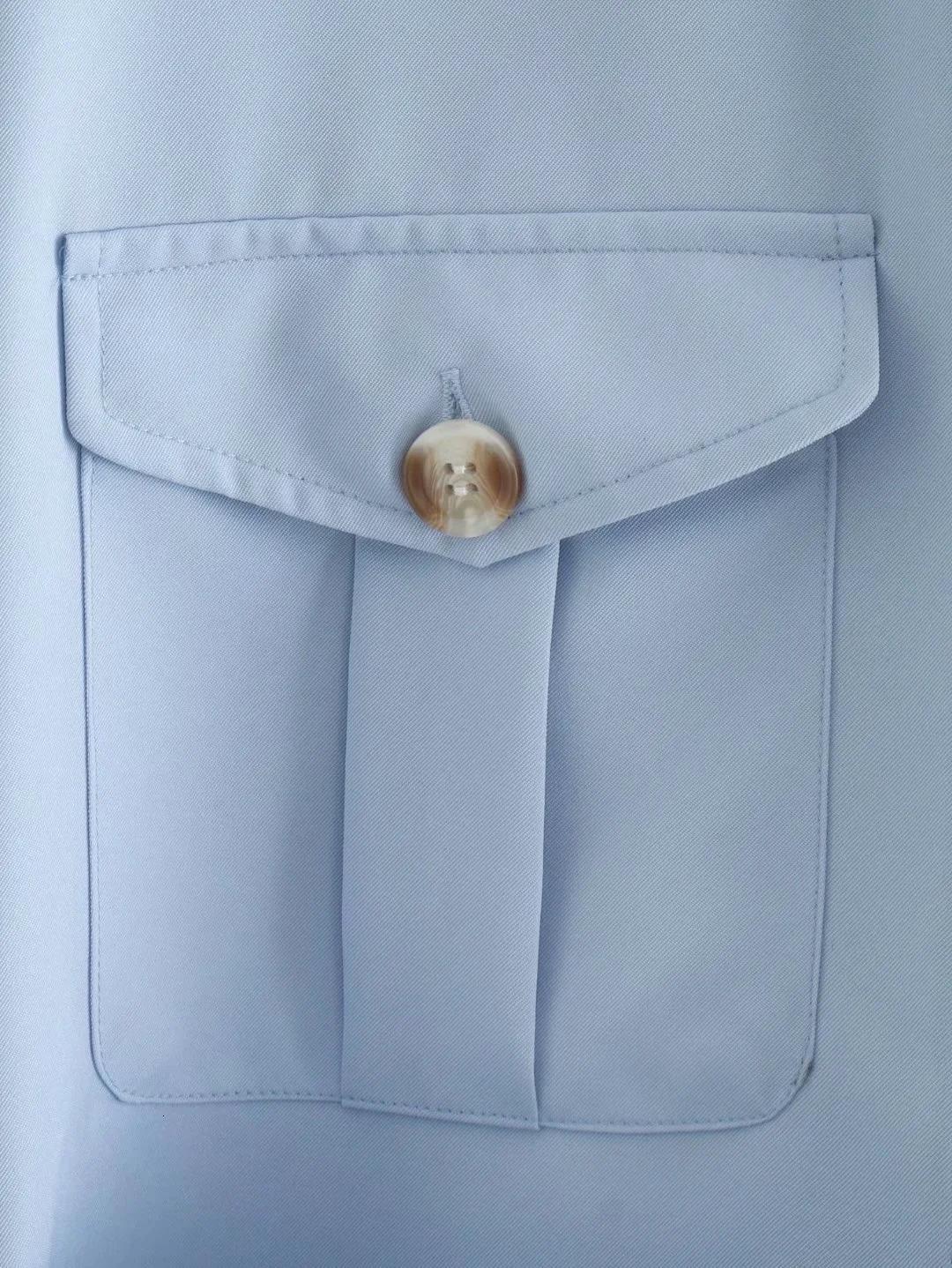 2020 Blue Long Sleeve Sexy Women blouses Shirts Autumn Fall new women's fashion show slim blue mid-length belt shirt