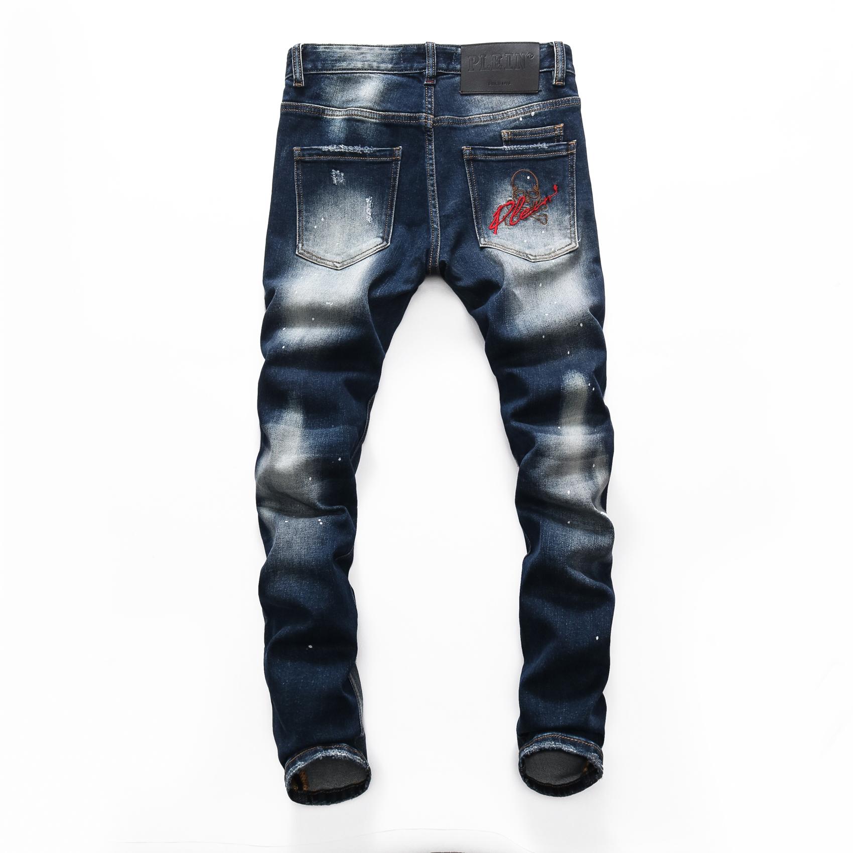 PINK PARADISE PLEIN Classic Fashion Man Jeans Rock Moto Mens Casual Design Ripped Jeans Distressed Skinny Denim Biker PLEIN Jeans 157491