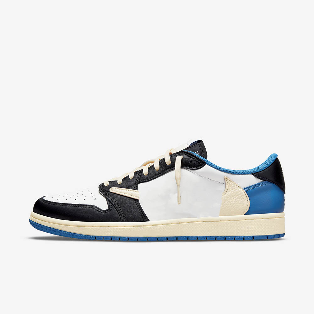 Fragment Design x Travis Scotts Jumpman 1 Low Military Blue Basketball Sneakers Shoe's Upper Is Built With A White Leather Base Overlaid By Black And Royal Blue