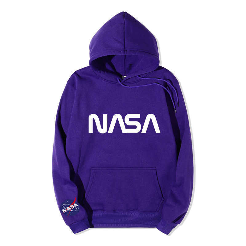 Men's Hoodies Fashion Designers in Autumn and Winter of Nasa Long Sleeve Plush Oversize Sweatshirts Perfect for Jeans and Pants