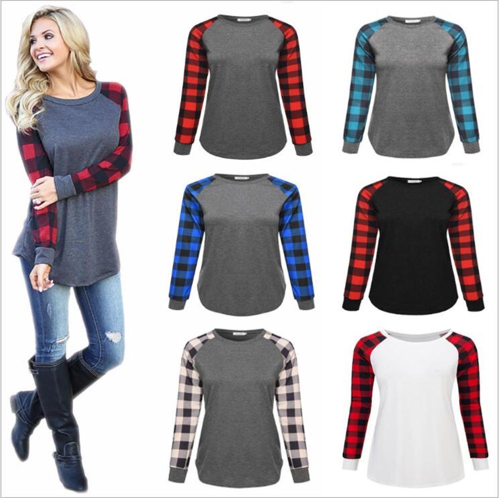 Buffalo Check Shirts Plaid Red Black Check T-Shirt Plus Size Christmas Tops Long Sleeve Casual Blouse Xmas Letter Print Patchwork Tees B7342