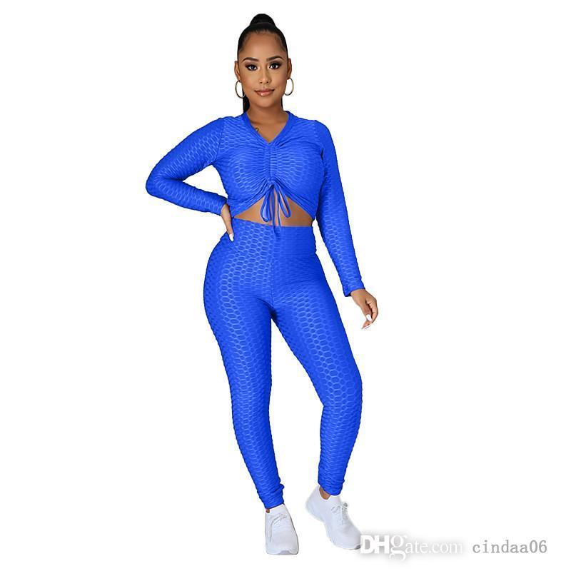 Plus Size Women Yoga Tracksuit S-4XL Set Hoodies+Pants Solid Color Sports Suit Long Sleeve Outfits Fall Winter Clothing 4433
