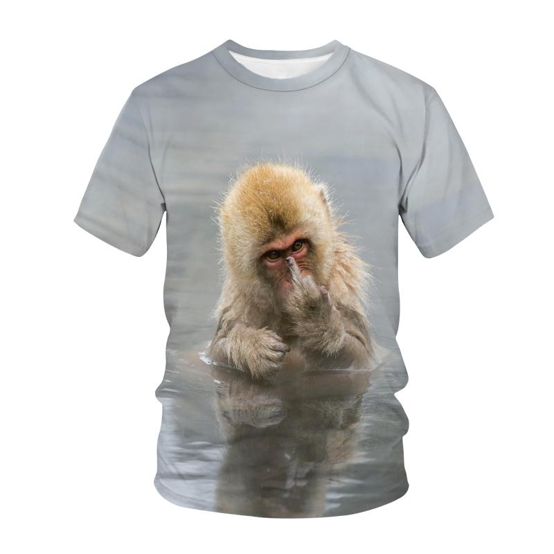 2021 Summer Men Short Sleeve Orangutan T-Shirt Funny Monkey 3D Print Streetwear Quick Dry Breathable T Shirt Fashion Casual Harajuku Top Tees Unisex Clothing