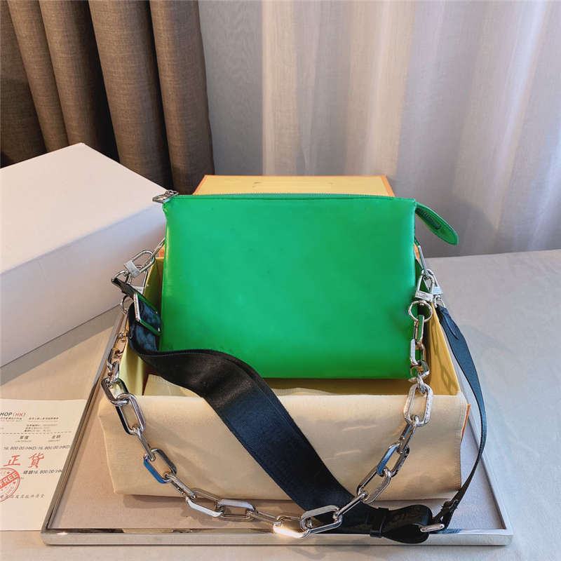 Women Single Shoulder Bag 21ss Wide Strap Chain Letter Printing Stylish Glossy Good Quality Fashion Luxurys Ladies bags