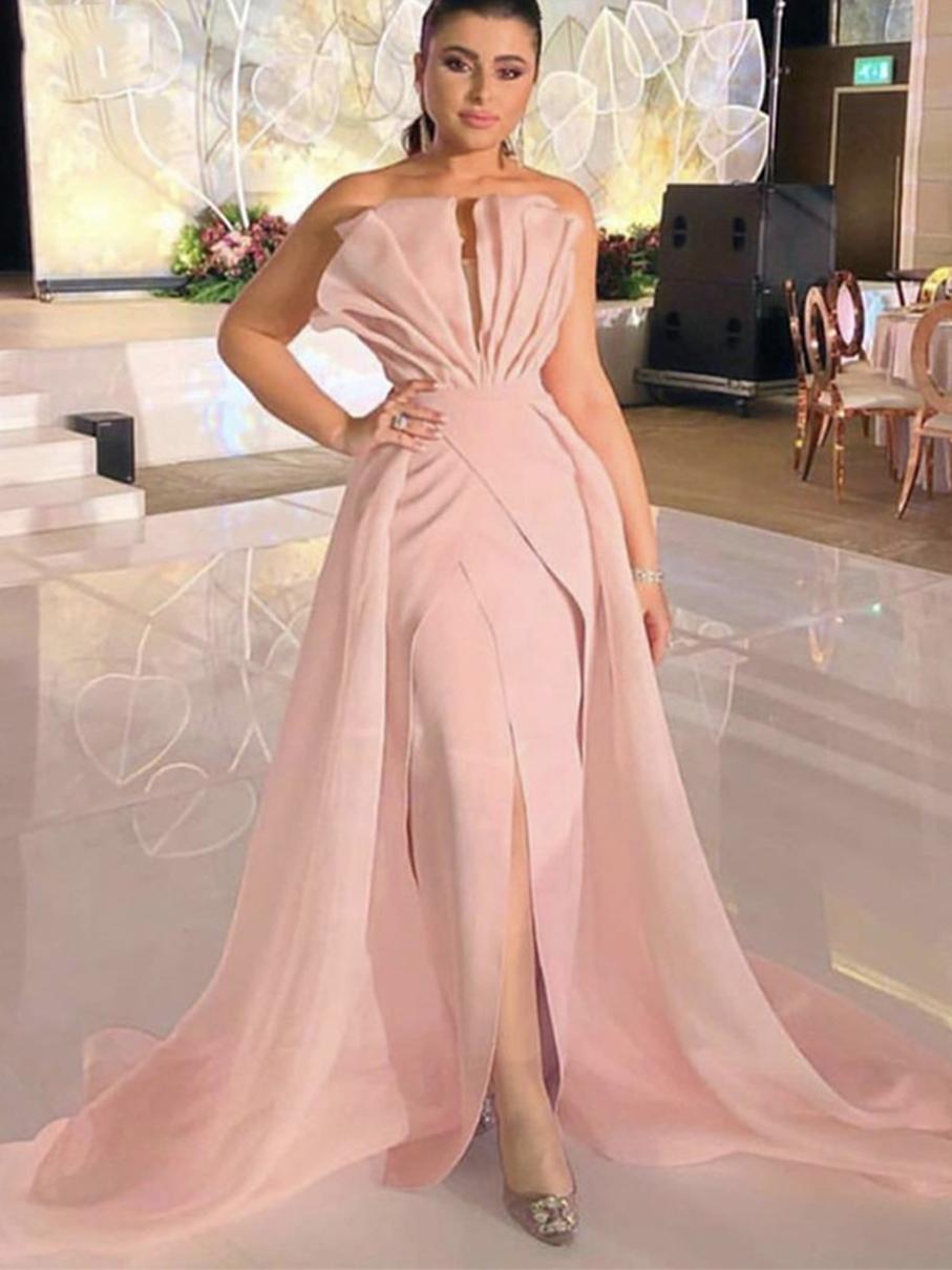 2021 Mermaid Evening Dress Pink Soft Stain Formal Dress Elegant Party Dress Prom Gown Detachable Train Vestidos De Fiesta