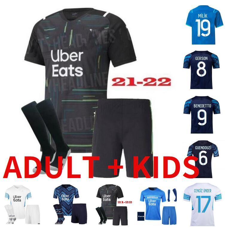 adult kids kit Olympique de Marseille Soccer jersey 2021 2022 OM Maillot Foot GUENDOUZI PAYET THAUVIN BENEDETTO 20 21 22 MILIK Football shirt