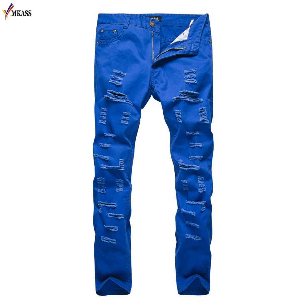 New Ripped Jeans Men With Holes Skinny Famous Designer Brand Slim Fit Destroyed Torn Jean Pants For Male Denim Trousers XXL