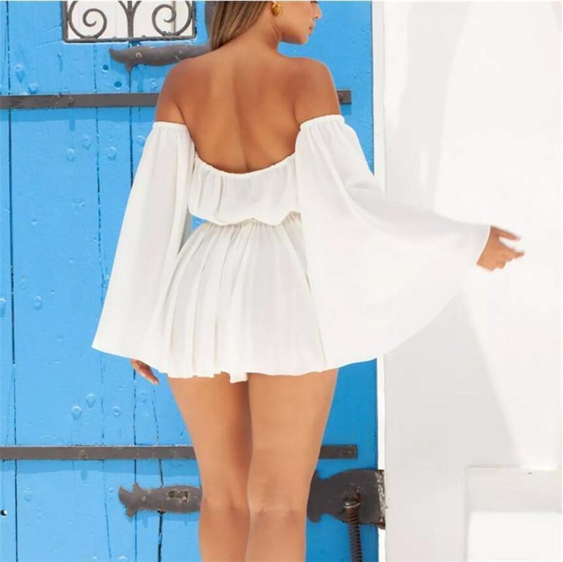 Womens Designer Off Shoulder Mini Dresses Sexy Hollow Out Slash Neck Dresses Casual Sleeveless Solid Color Dresses