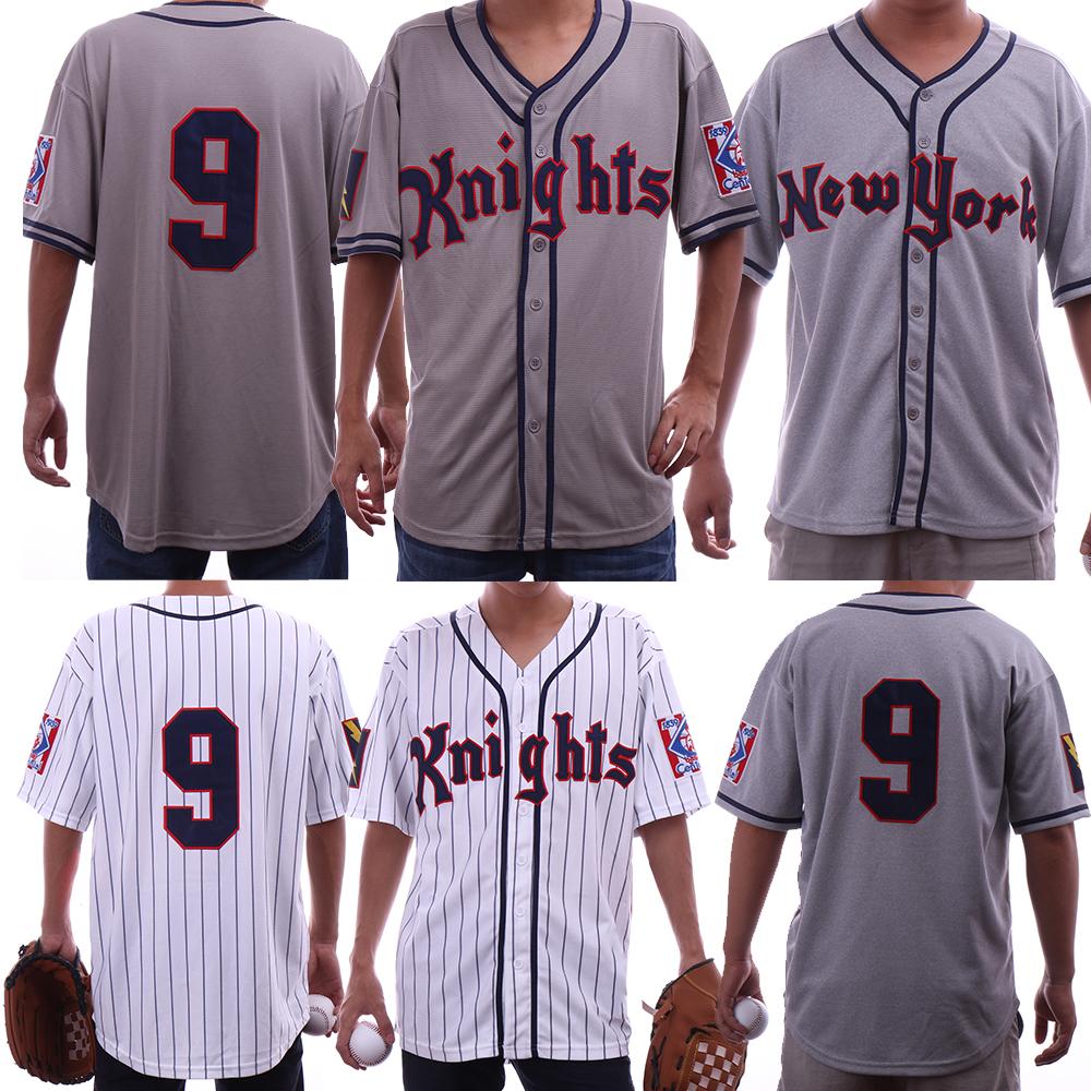 Roy Hobbs The Natural #9 Knights Redford White Grey Men's Movie Baseball Jerseys