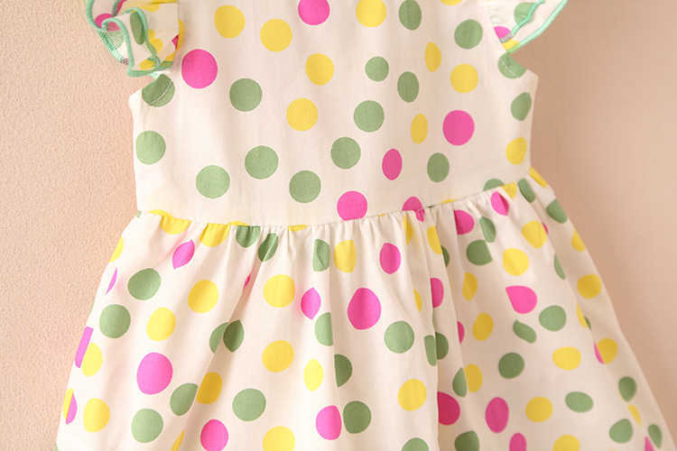 Summer 2-10 Years Beautiful Pretty Sweet Children Baby Kids Pleat Short Fly Sleeve Party Prom Polka Dot Dresses For Girls (20)